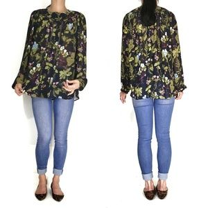ANN TAYLOR - long sleeve floral blouse